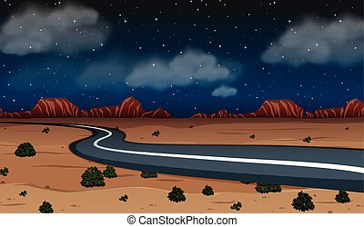 A desert road at night