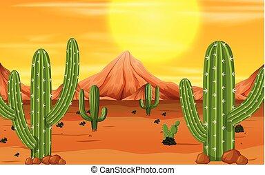 A desert sunset scene