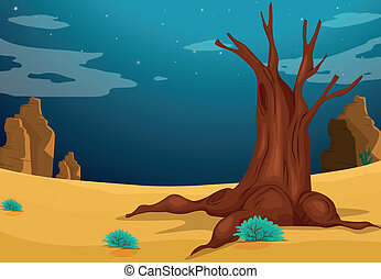 A desert with a big tree