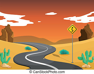 A desert with a curve road - Illustration of a desert with a...