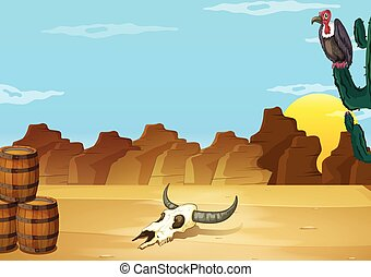 A desert with a dead animal