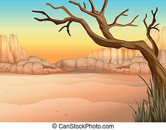 A desert with a tree without leaves