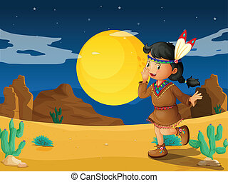 A desert with a young Indian