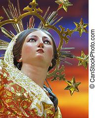 Saint Mary - A detail of a statue of Saint Mary at Ghaxaq,...