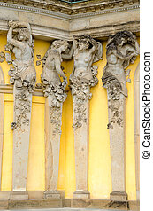 A detail of the facade of the Sanssouci palace, Potsdam, Germany
