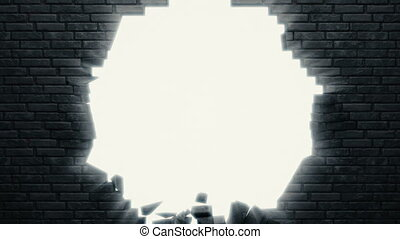 A detailed black brick wall is breaking in the center - 4K ...