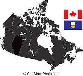 Alberta - A detailed map of Canada highlighting Alberta