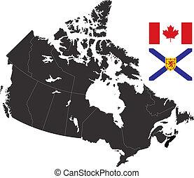 Nova Scotia - A detailed map of Canada highlighting Nova...