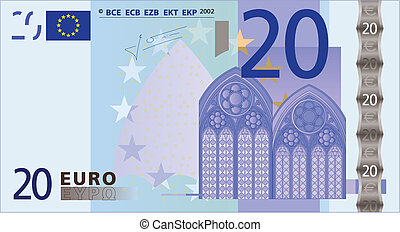 A detailed vector drawing of a 20 euros bank-note