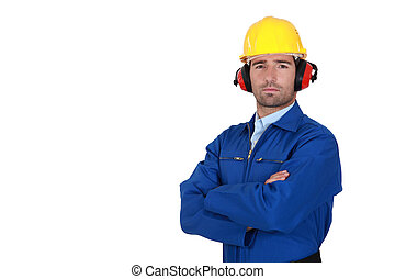 A determined construction worker.