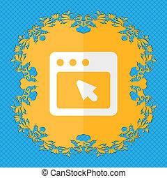 a, diálogo, box., floral, apartamento, desenho, ligado, um, azul, abstratos, fundo, com, lugar, para, seu, text.