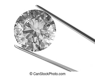 A diamond held in tweezers isolated on white. High...