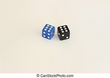 A dice on a light background