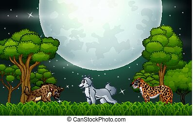 A different animal in the jungle at night