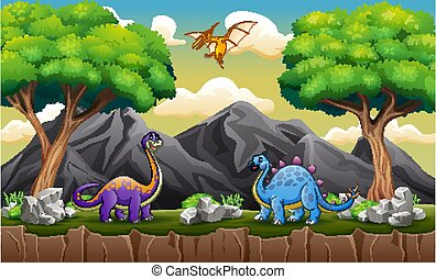 A different dinosaurs on the hill