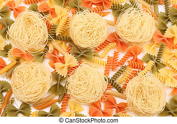 A different pasta in three colors.