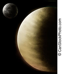 a digital painting of Venus and Mercury - a digital painting...