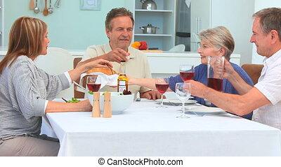 A dinner between elderly friends