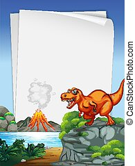 A dinosaur banner template in nature scene