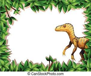 A dinosaur on nature frame
