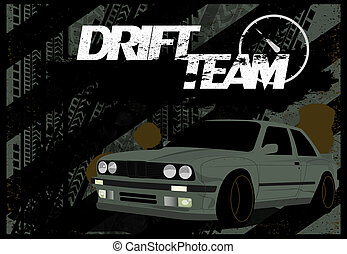 A Dirty Banner, Car Background in Grunge Style