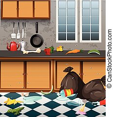 A Dirty Kitchen Full or Waste