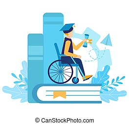 A disabled boy student in a wheelchair graduated from university. Certificate of qualification. Graduation cap. inclusive and disability education or distance learning. Flat vector illustration