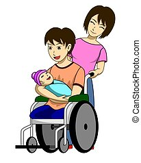 A disabled man with torn legs. He is sitting in a wheelchair and carrying his child. And there is a wife to take care of beside. Such a happy family. It has white background.