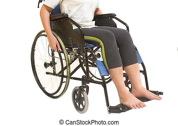 A disabled woman posing in a wheelchair isolated