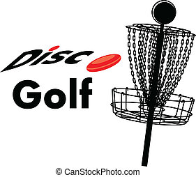 disc golf - a disc golf cage with text disc golf and a disc