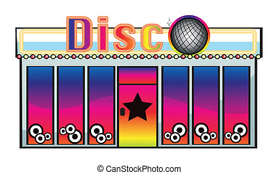 A disc store - Illustration of a disc store on a white...