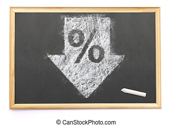 a discount drawn on a blackboard with chalk.(series)