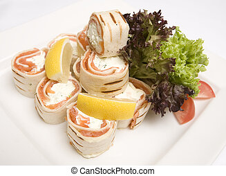 Salmon and soft cheese wraps - A dish of Salmon and soft ...