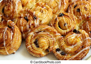 Raisin Brioche Sweet Danish Pastries - A Display of Raisin ...