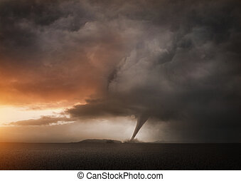 A Distant Tornado. A late evening storm producing a tornado.