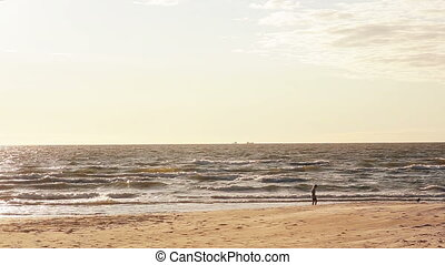 A distant view of a young girl in a white dress walking to and fro on a sandy beach looking for something