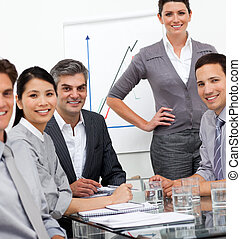 A diverse business team at a presentation