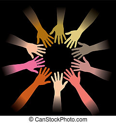 circle of hands - A diverse circle of hands background, in ...
