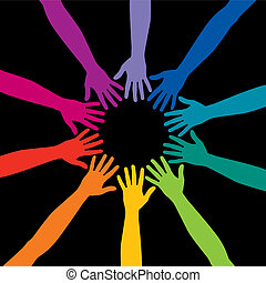 A diverse circle of hands background, in vector format