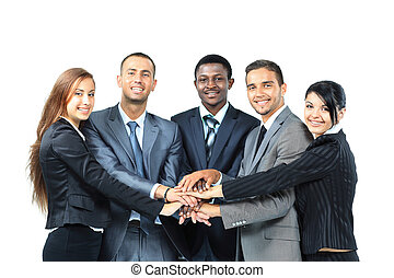 A diverse group of business workers with their hands ...