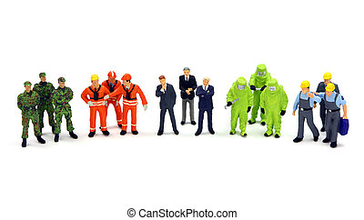 A diverse group of miniature workers