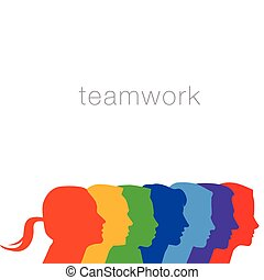 A diverse group of people in this teamwork graphic for print...