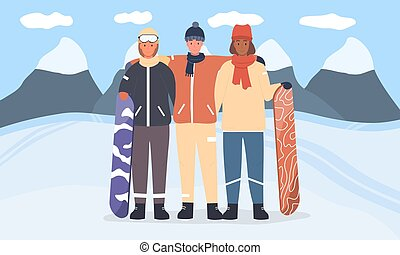 A diverse group of young snowboarders