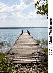 Peten lake, Flores, Guatemala - A dock in the Peten lake,...