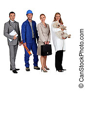 A doctor, a workman, an office woman and a vet with a dog in her arms all looking at us.