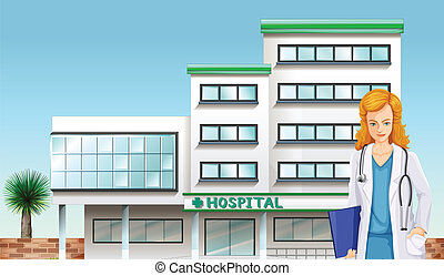 A doctor in front of the hospital building