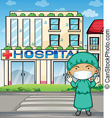 A doctor in front of the hospital