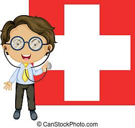 A doctor in front of the Switzerland Flag