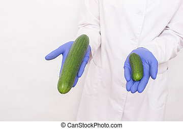 A doctor in medical gloves holds two different sized cucumbers. Concept of increasing penis in men, ligamentotomy, sexual