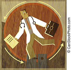 A doctor running on a wheel with a briefcase and folders in ...